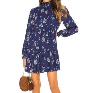 NWT free people indigo smock neck floral dress.